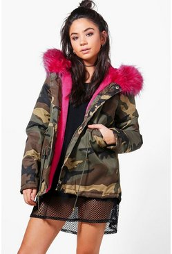 Lizzie Short Camo Faux Fur Lined Parka