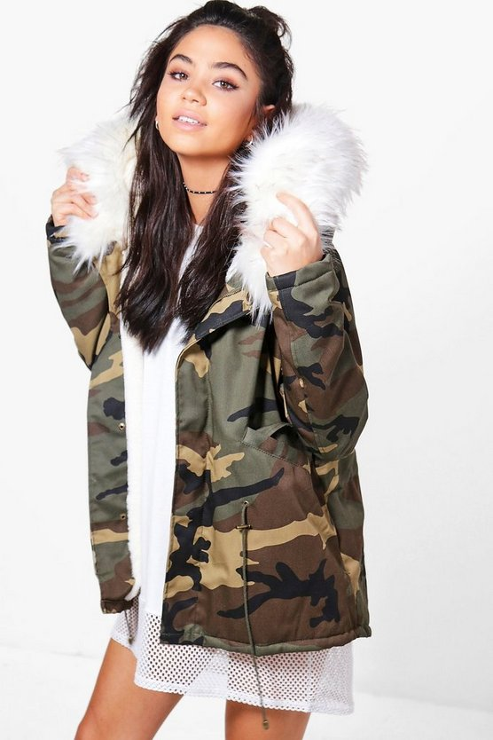 Alice Short Camo Faux Fur Lined Parka