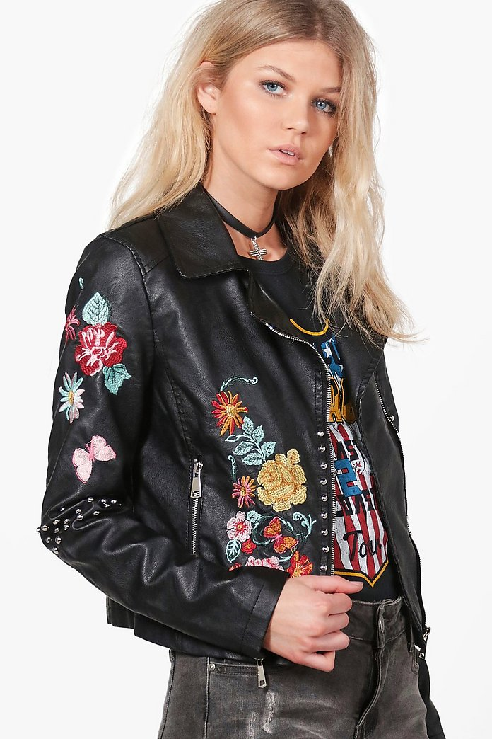 Nicole Boutique Embroidered Biker Jacket