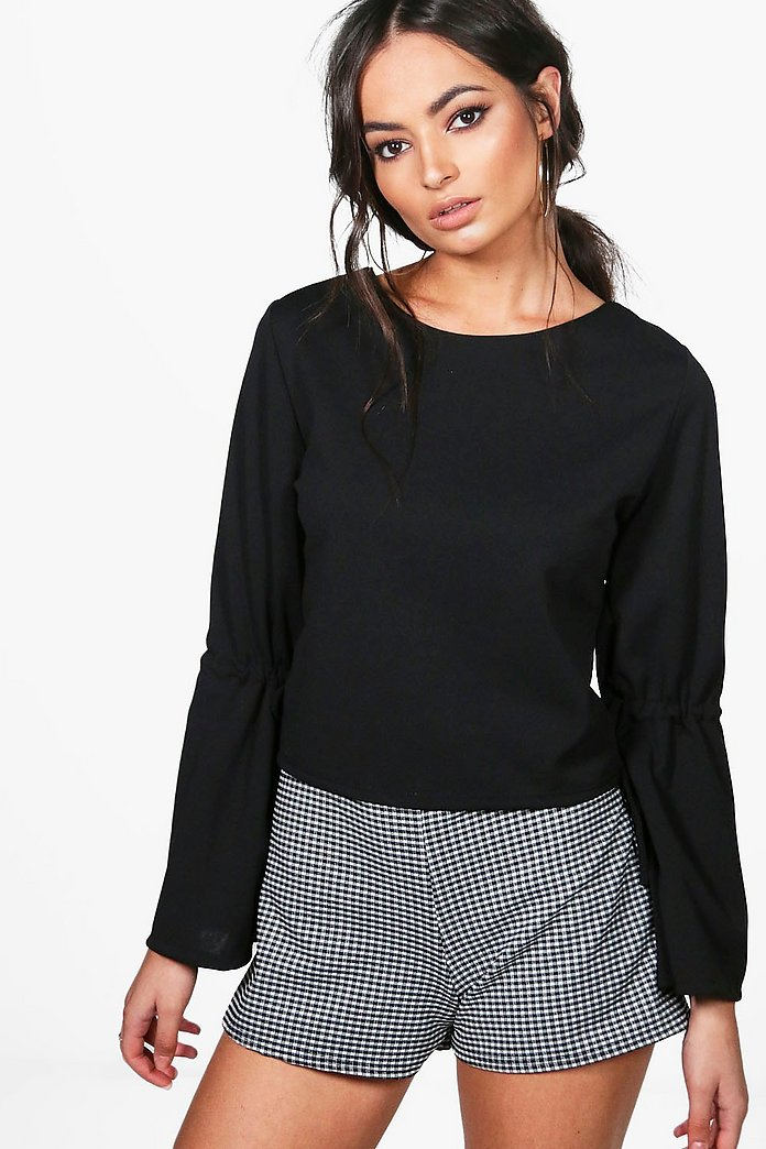 Emma Flare Tie Sleeve Strappy Woven Top