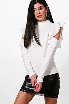 Bluse mit Volant und ausgeschnittenen Schultern - Boohoo.com