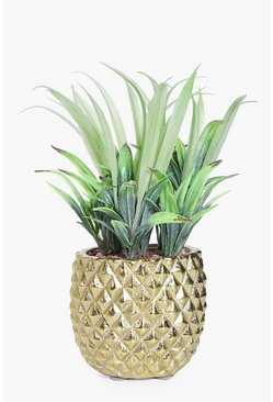 20cm Ceramic Pineapple Pot With Faux Plant