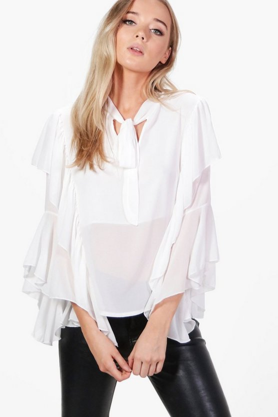Eva Tie Neck Frill Sleeve Tailored Blouse
