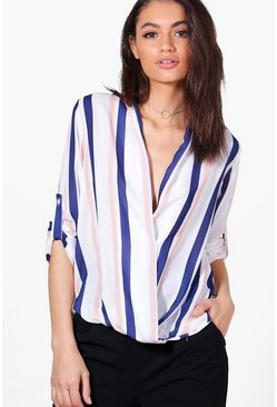 Hannah Stripe Wrap Over Tailored Blouse