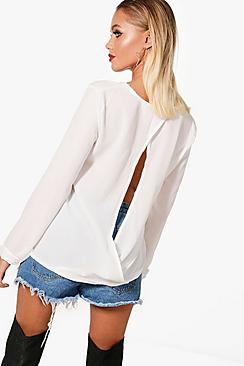 Hollie Rückenfreie Bluse aus Webmaterial - Boohoo.com