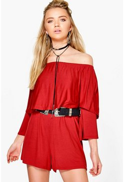 Diana Double Frill Off the Shoulder Playsuit