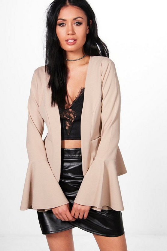 Verity Flare Sleeve Collarless Blazer