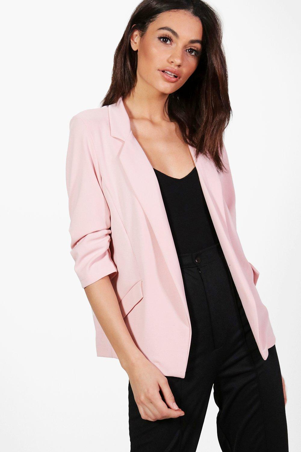NEW-Boohoo-Womens-Kelly-Button-Ruched-Sleeve-Blazer-in