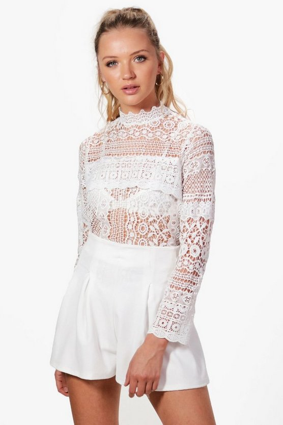 Bella High Neck Panel Lace Top