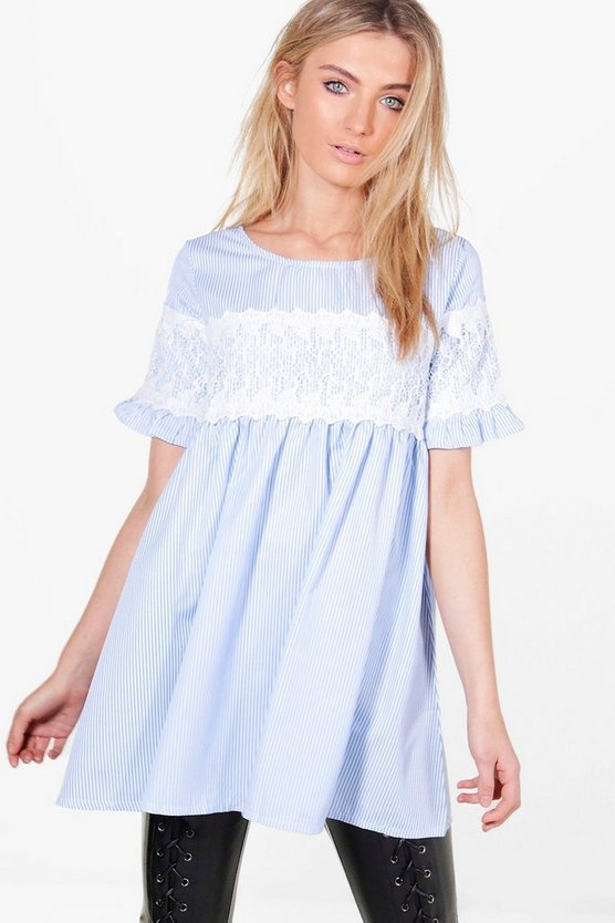Georgia Crochet Trim Stripe Smock Top