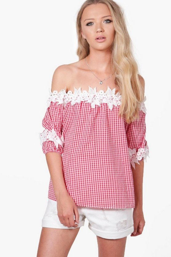 Willow Gingham Crochet Bardot Top