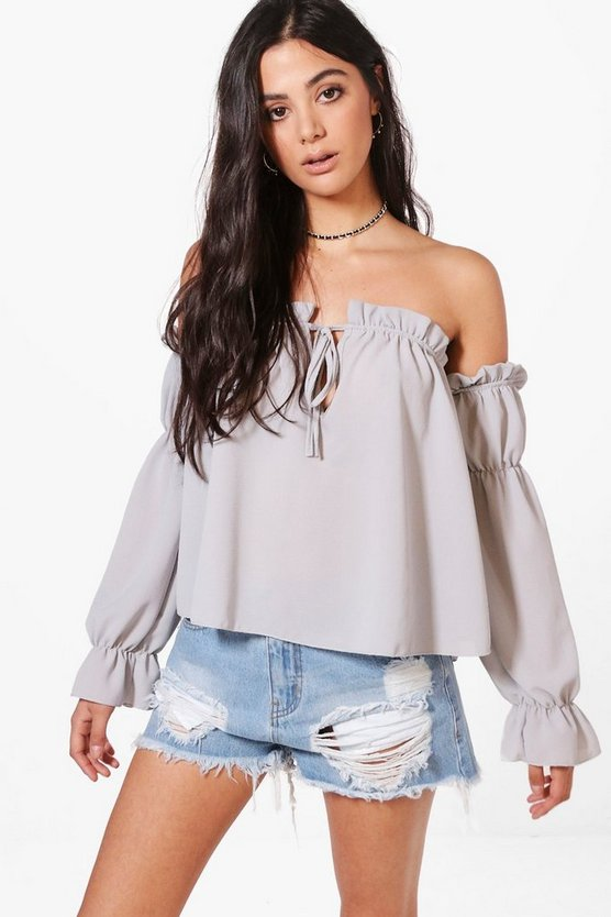 Kayla Off The Shoulder Frill Detail Blouse
