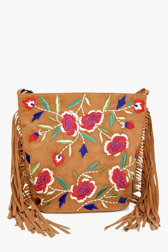 Kara Embroidered Fringed Cross Body Bag