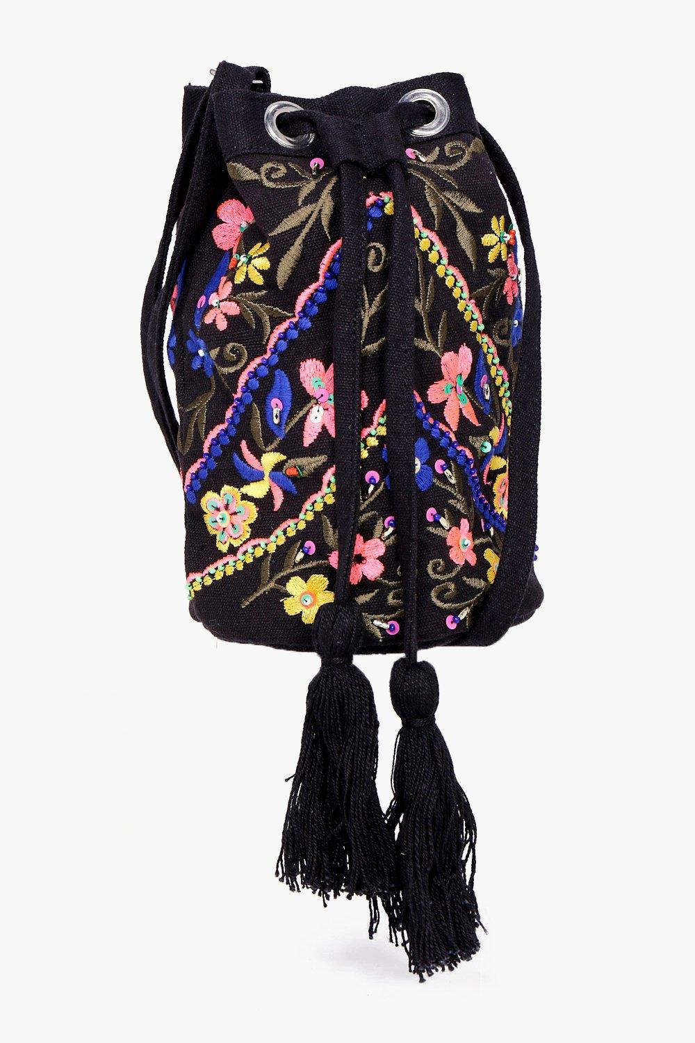 Floral Embroidered Duffle Bag - black - Mae Floral