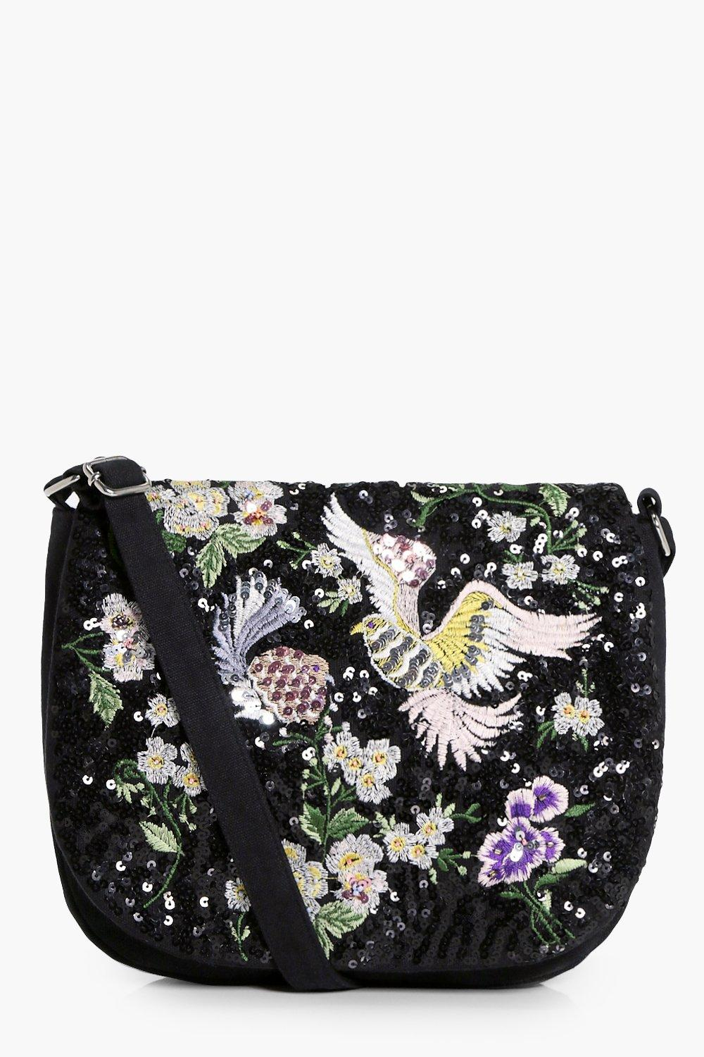 Bird & Floral Embellished Saddle Bag - black - Saf