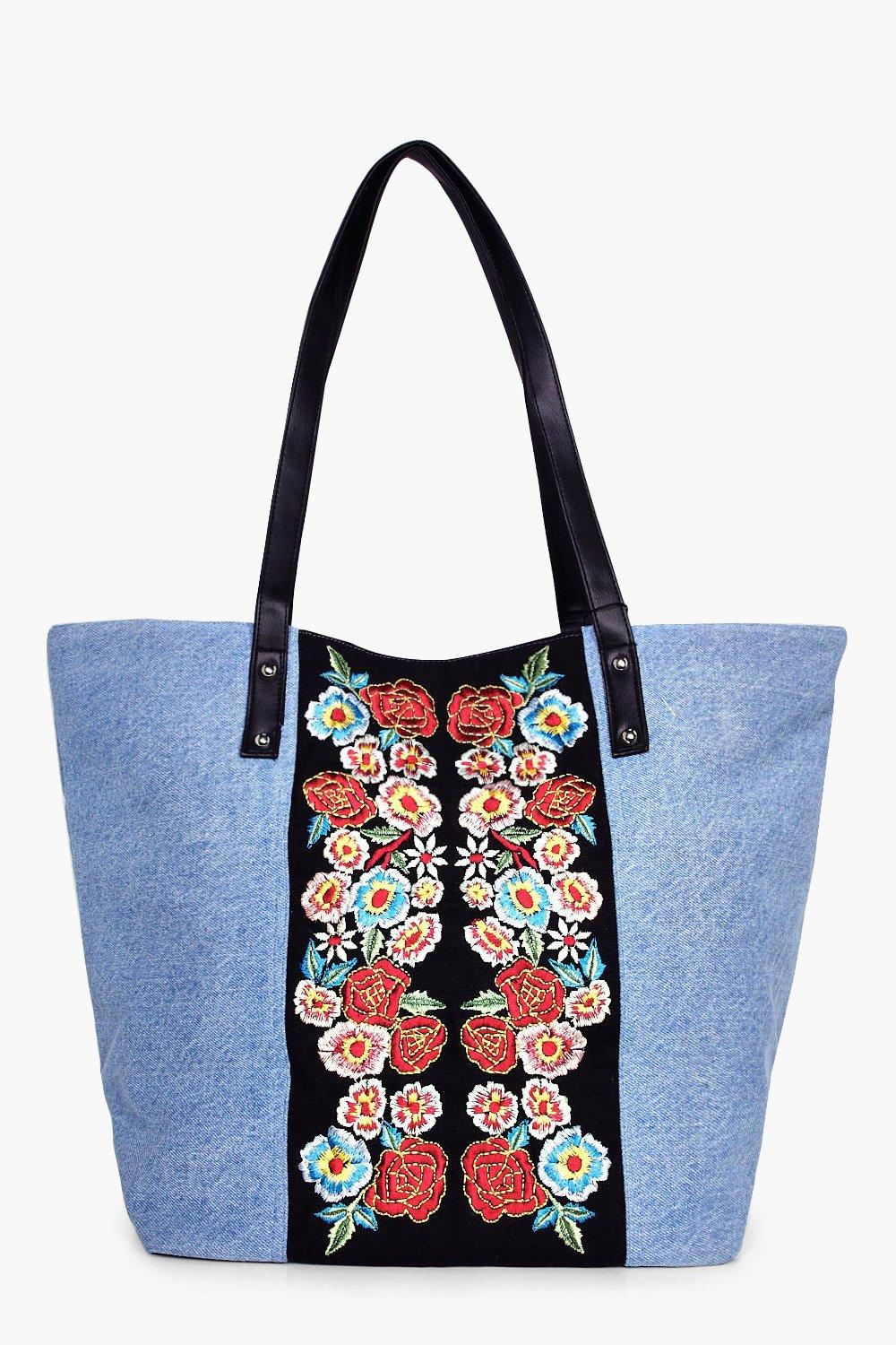 Denim Embroidered Beach Bag - denim-blue - Hannah