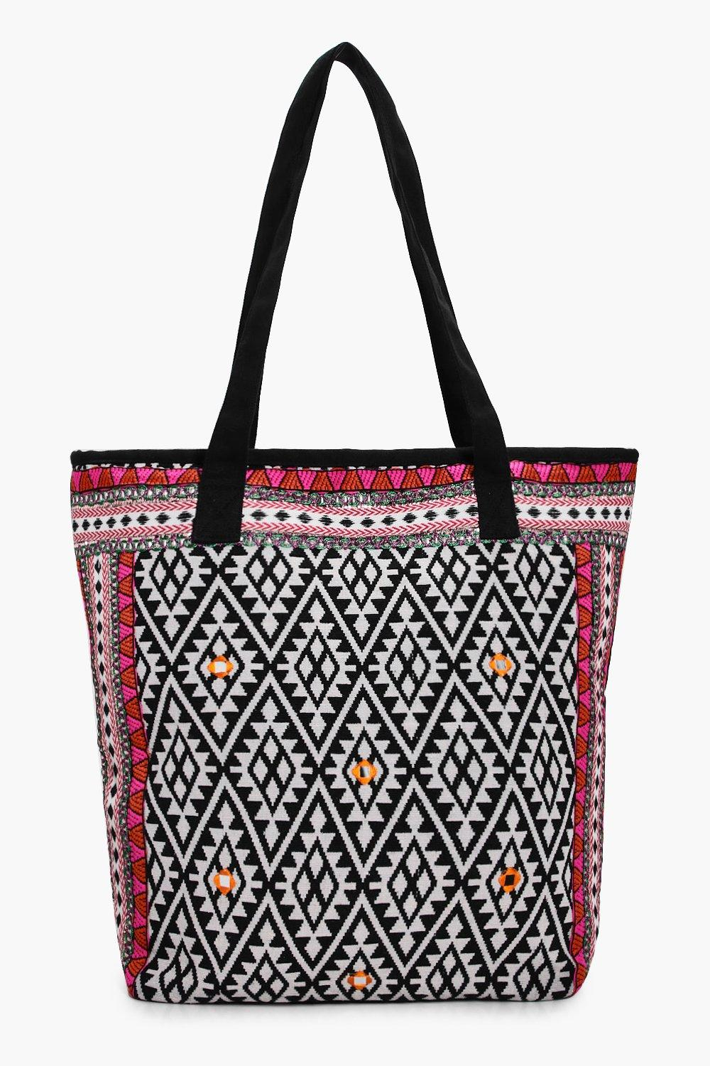 Embroidered Edge Aztec Beach Bag - multi - Lacey E