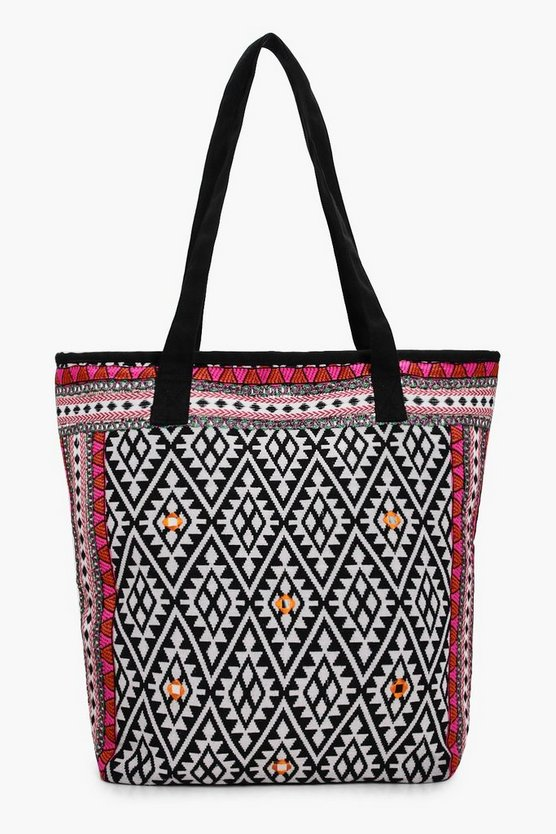 Lacey Embroidered Edge Aztec Beach Bag