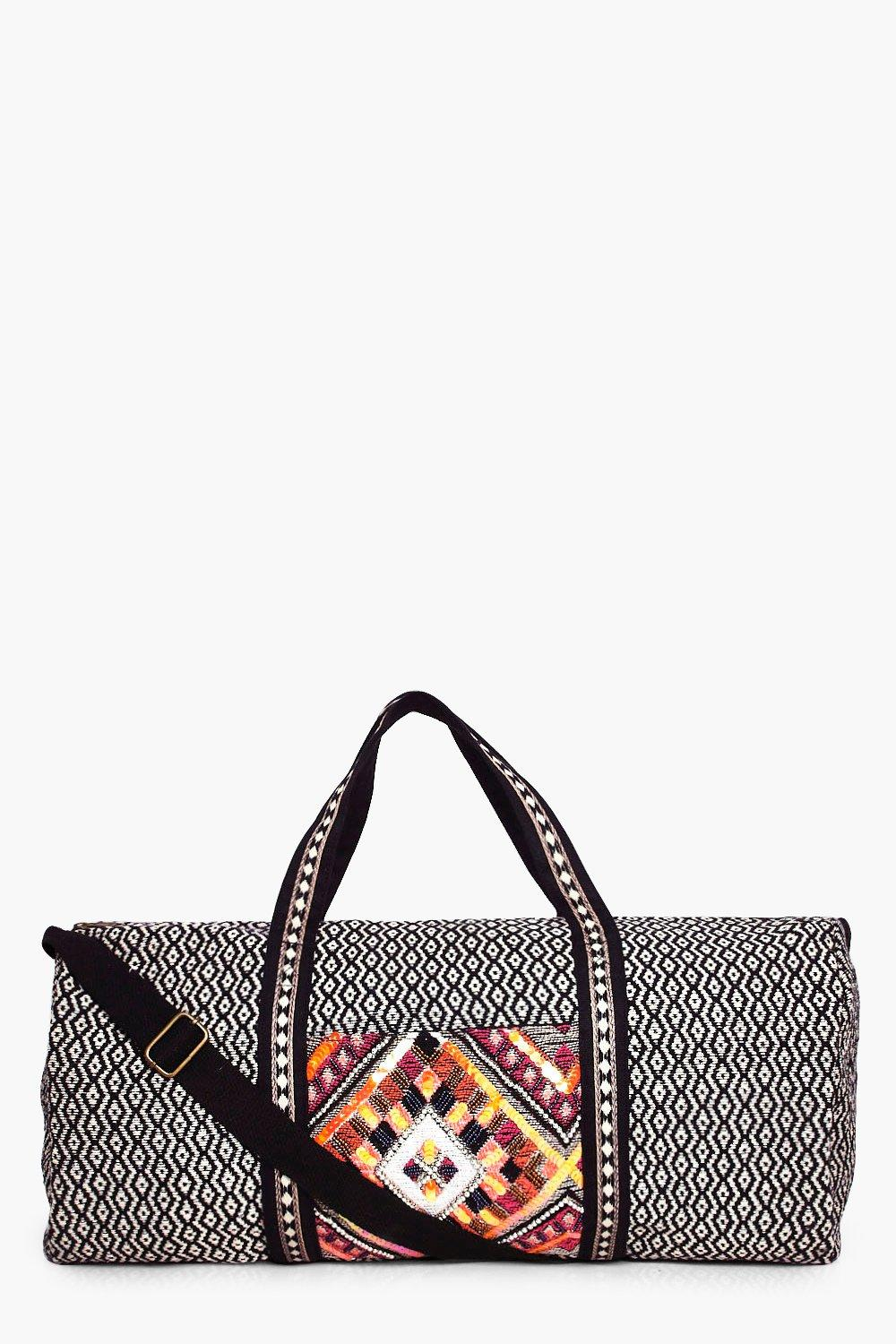 Beaded Panel Aztec Weekend Holdall Bag - black - E