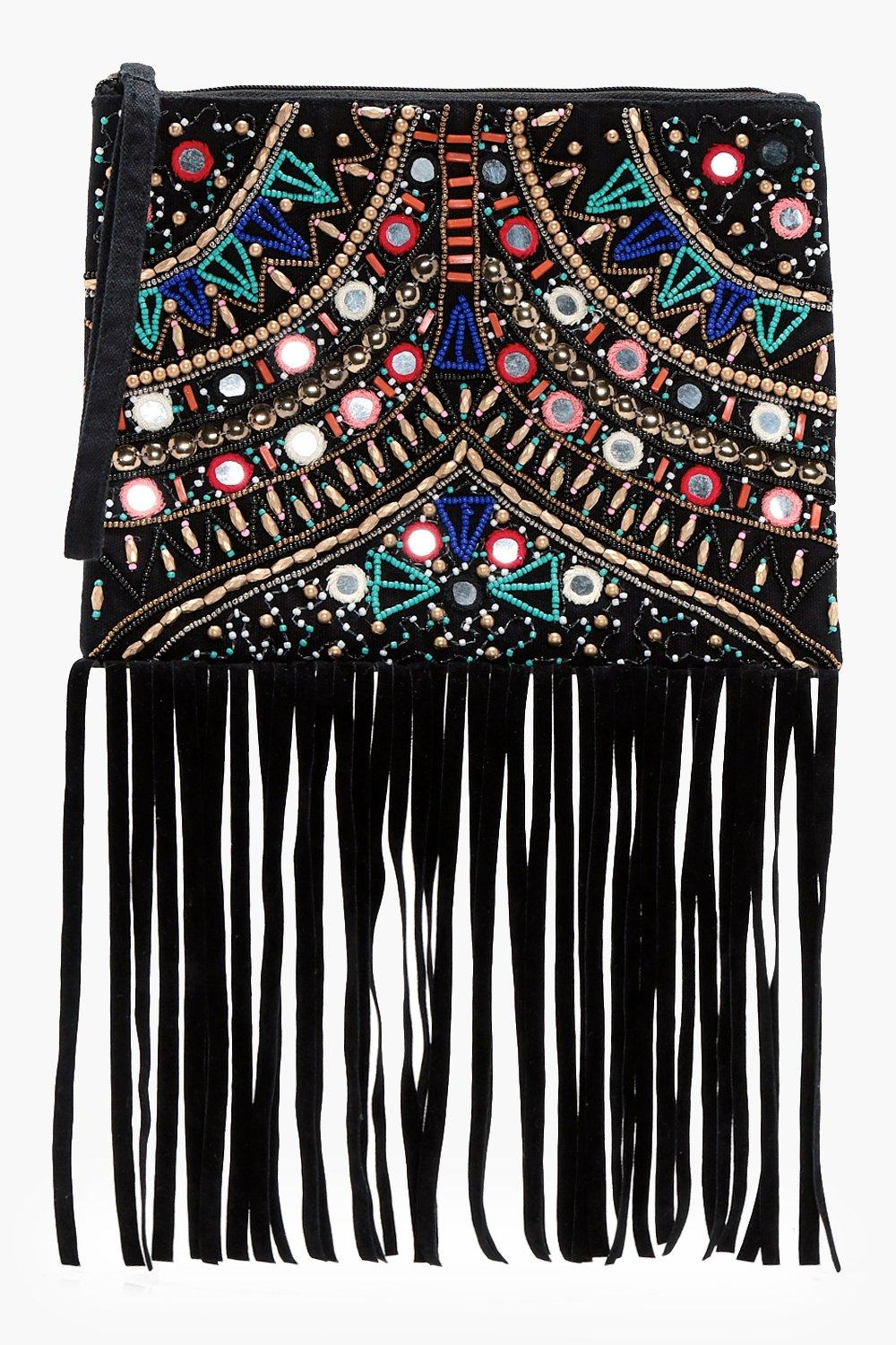 Embellished Fringed Cross Body Bag - black - Sophi
