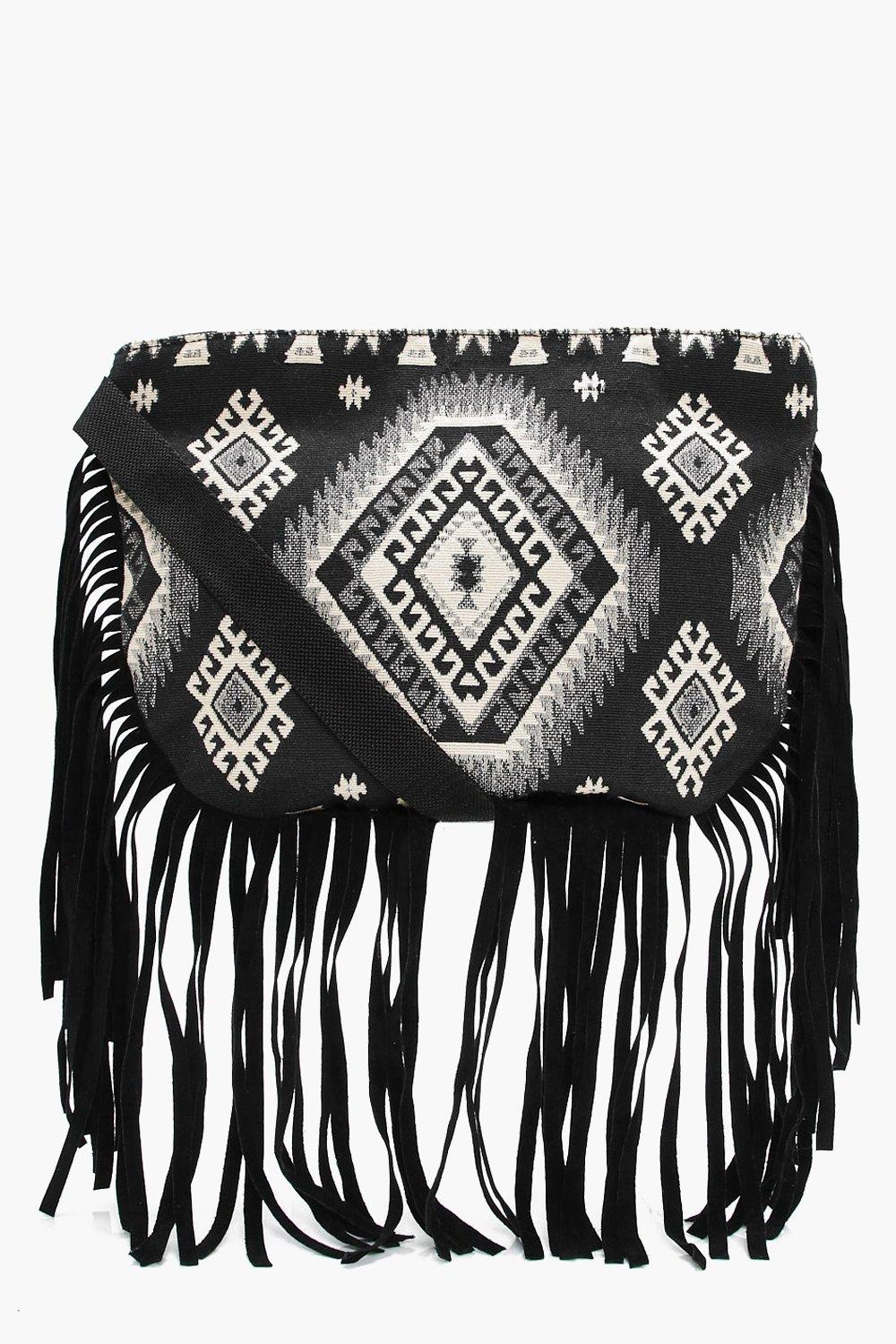 Aztec Fringed Cross Body Bag - black - Isla Aztec