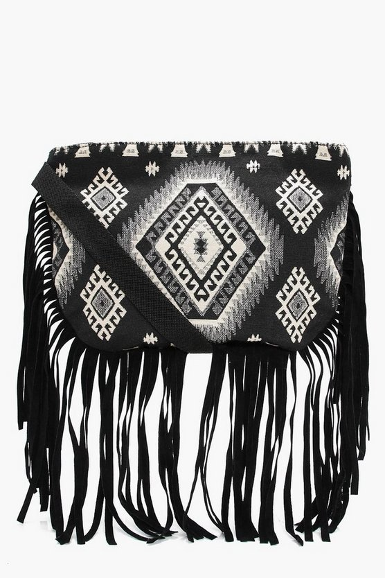 Isla Aztec Fringed Cross Body Bag
