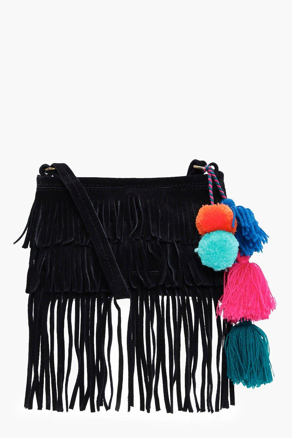 Suede Leather Pom Cross Body Bag - black - Lacey S