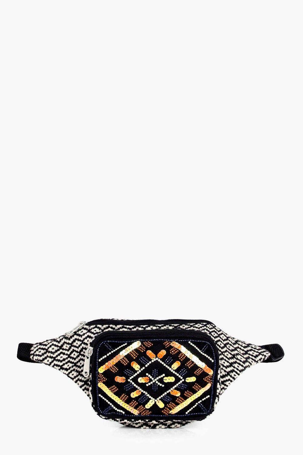 Beaded Pocket Aztec Bumbag - black - Jessica Beade