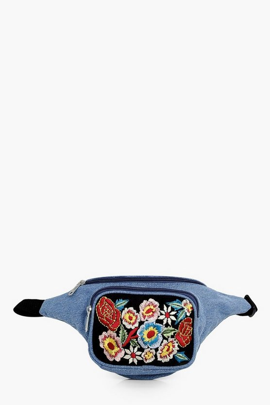 Lily Denim Embroidered Bumbag