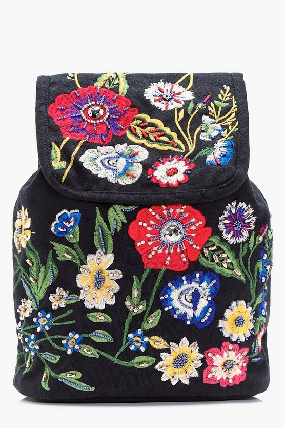 Macey Floral Embroidered Rucksack