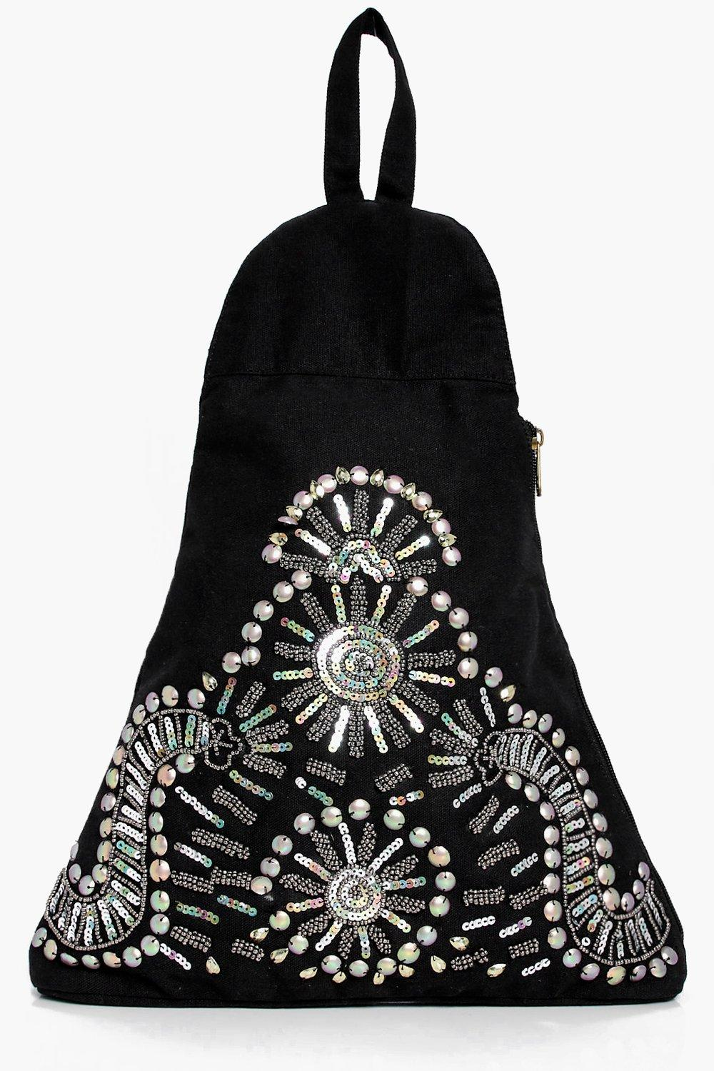 Stud Embellished Triangular Rucksack - black - Mac