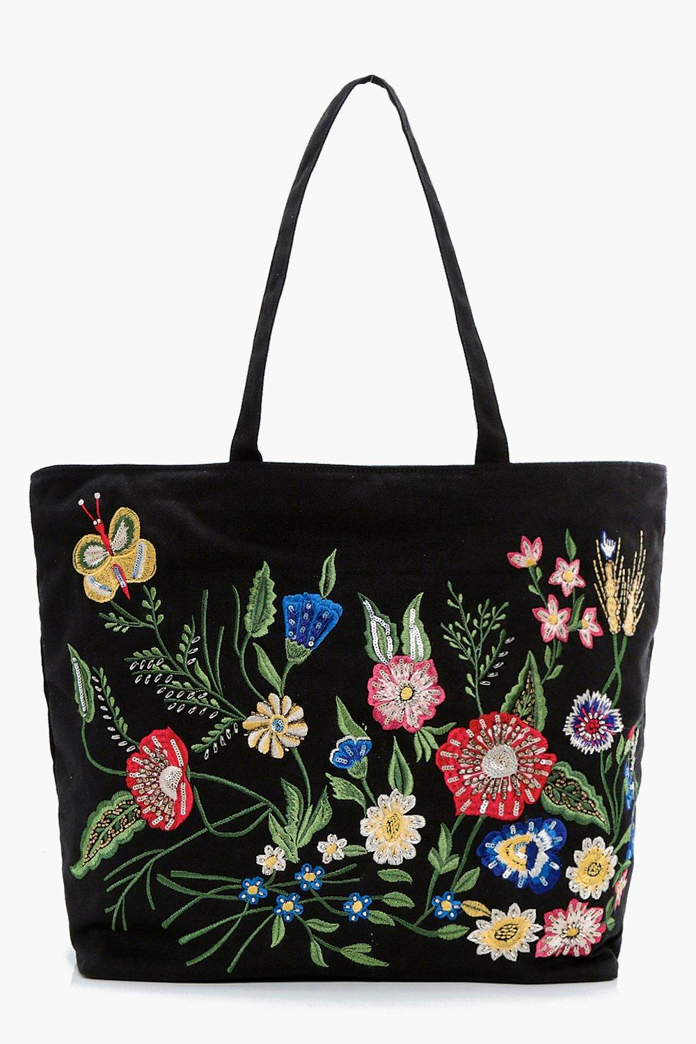 Butterfly Embroidered Shopper Bag - black - Caroli