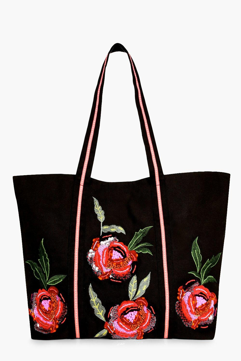 Floral Embroidered Shopper Bag - black - Mia Flora