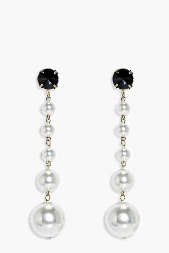 Alice Long Pearl Statement Drop Earrings