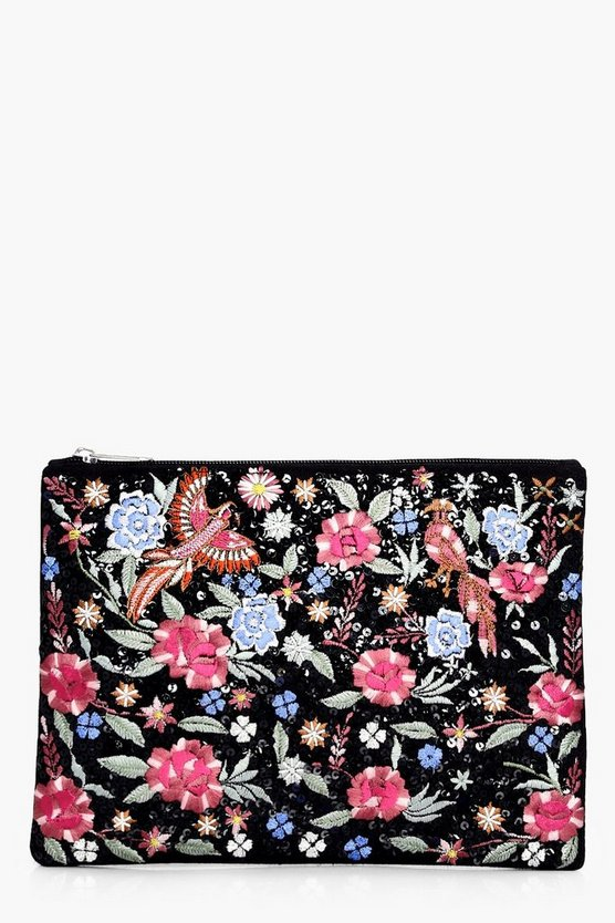 Lexi Embroidered Bird Floral Clutch Bag