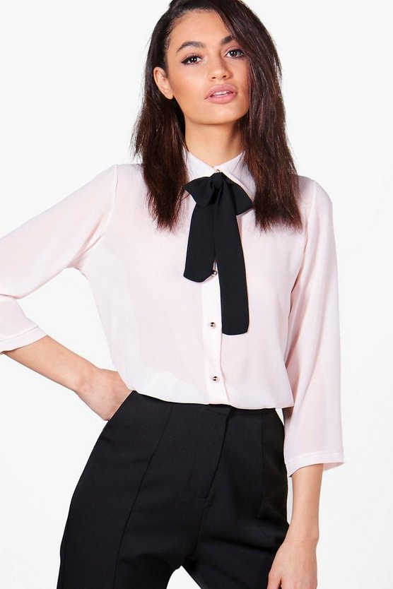 Penny Woven Tie Neck Shirt