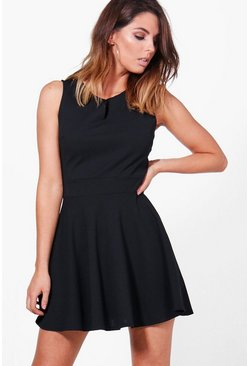 Freya Notch Neck Woven Skater Dress