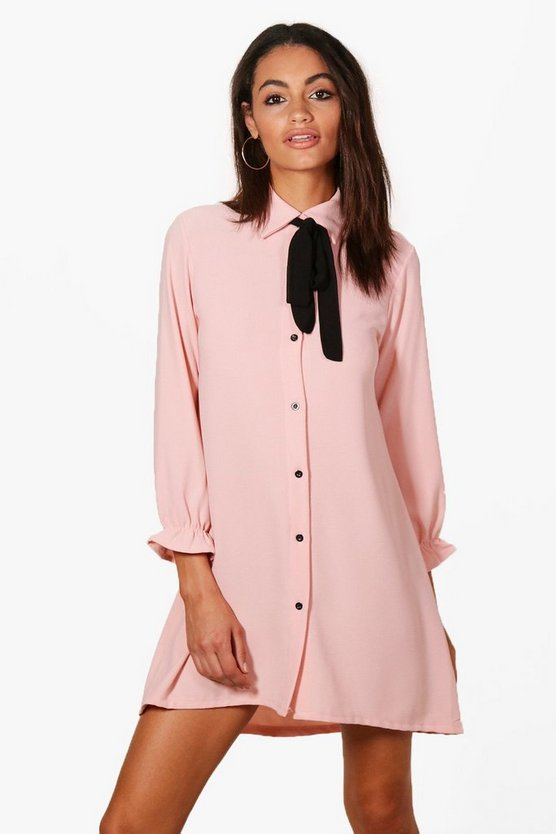 Freya Woven Scarf Shirt Dress