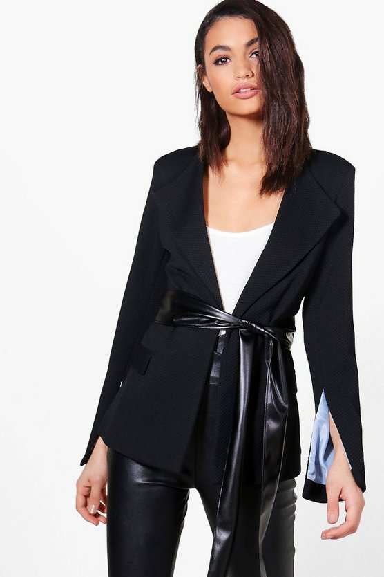 Bethany Woven Textured Blazer With PU Belt