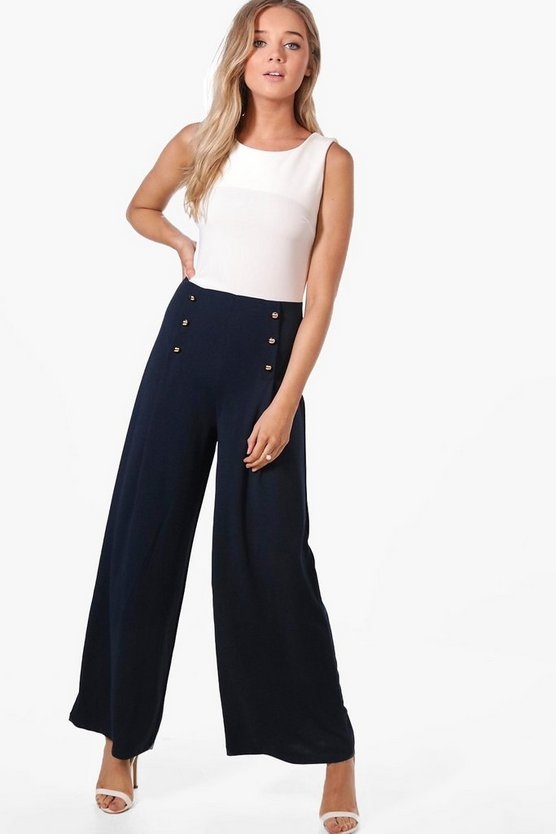 Bianca Button Detail Sleeveless Jumpsuit