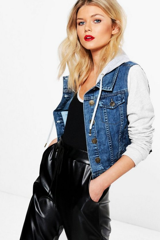 Ella Denim Jacket With Jersey Sleeves and Hood