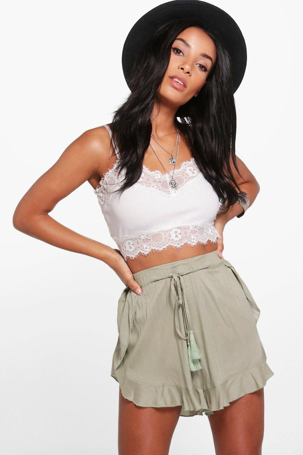 Tassel Trim Shorts  khaki