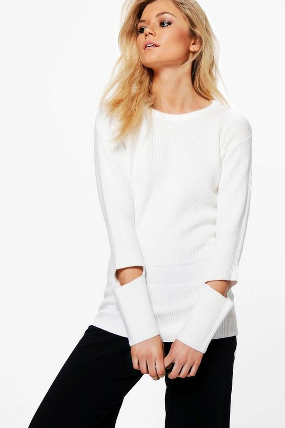 Jasmine Cut Out Cuff Rib Knit Jumper