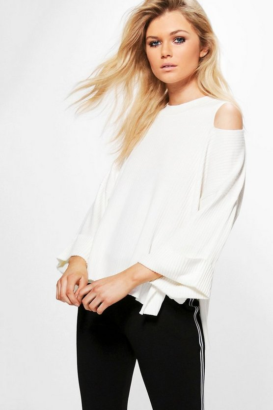 Julia Cold Shoulder Rib Knit Jumper