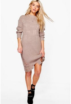 Freya Distressed Hem Jumper Dress
