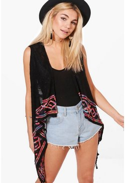 Gemma Aztec Trim Sleeveless Cardigan