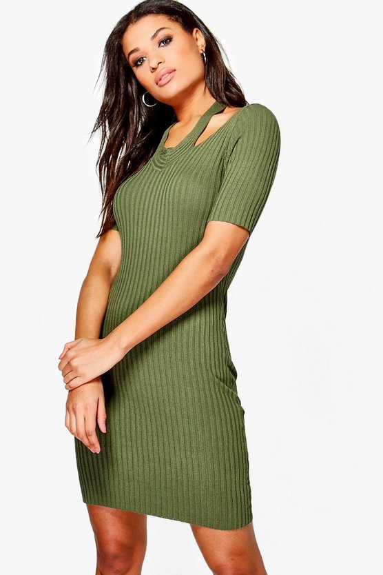 Daisy Cut Out Shoulder Rib Knit Jumper Dress