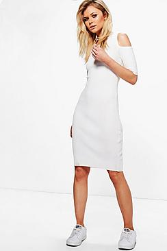 Melissa Cold Shoulder Rib Knit Jumper Dress