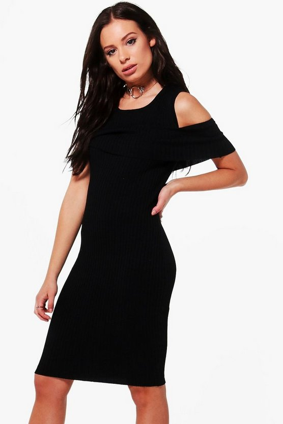 Una Ruffle Cold Shoulder Rib Knit Jumper Dress