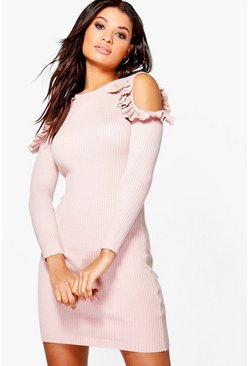 Alicia Ruffle Cold Shoulder Rib Knit Jumper Dress